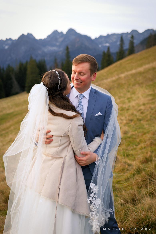 Plener ślubny w Tatrach na Rusinowej Polanie. Młoda Para