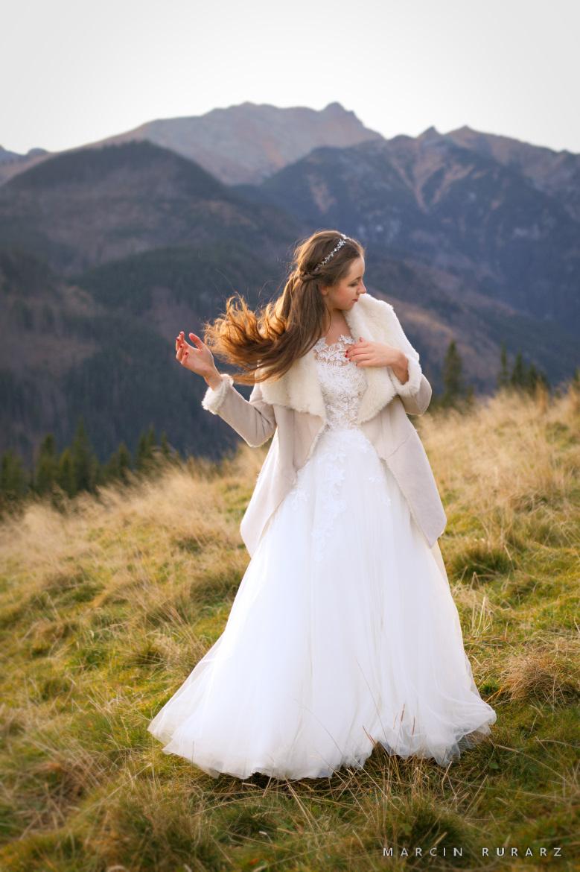 Plener ślubny w Tatrach na Rusinowej Polanie. Panna Młoda